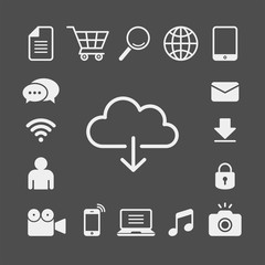 Cloud computing flat vector icons set. Grocery cart, magnifier, globe, book, email, lock, camera, photography, music, laptop, smartphone, camcorder, user, wifi, chat flat vector icons