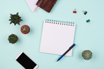 Business flatlay with notebook with blank page, pen, smartphone, succulents and cactuses and other business accessories. Mint color background. Top view, Concept of good business morning.