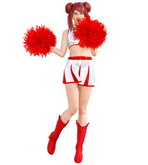 3D beautiful red hair cheerleader skirt and long boots.Bright makeup.Woman studio photography.High heel.Conceptual fashion art.Seductive candid pose.Render illustration.