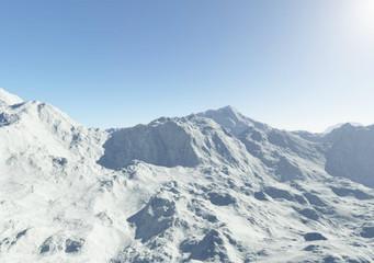 Alpine snowy mountains.Fractal 3D design.