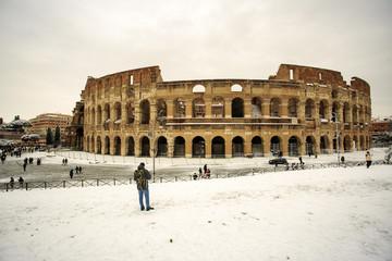 Colosseum and Fori imperiali, snow in Rome