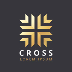 Abstract premium linear vector logo with a cross. Abstract geometric cross symbol. Christian cross icon. Doctor logo help icons business logo