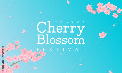 Wall mural Cherry Blossom Festival (In Japanese character) vector illustration. Sakura branch with petals falling and blue sky background.