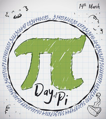 Notebook Paper with Doodles, Pie and Pi Symbol for Pi Day, Vector Illustration