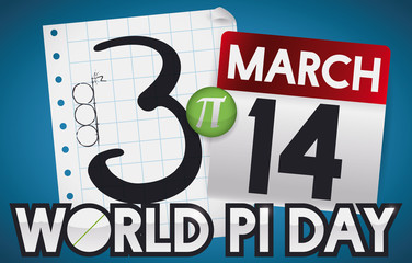 Notebook Paper, Pin and Calendar with Date for Pi Day, Vector Illustration