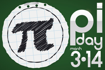 Round Notebook Paper with Pi Symbol for Pi Day Celebration, Vector Illustration