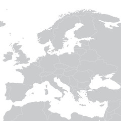 Grey illustration political map of Europe