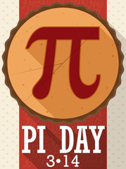 Pie in Flat Design with Long Shadow for Pi Day, Vector Illustration