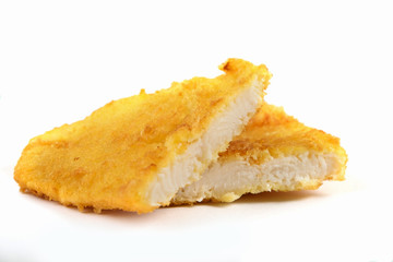 Fried fish fillet on white background