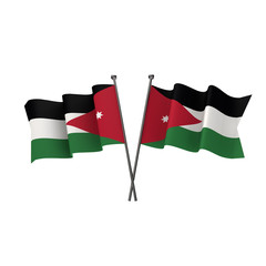 Jordan flags crossed isolated on a white background. 3D Rendering