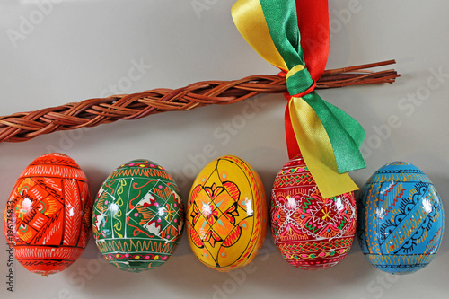 Easter Whip And Colored Eggs Traditional Easter Decoration Stock