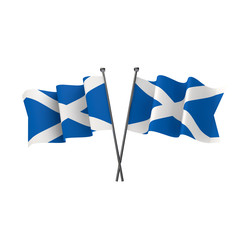 Scotland flags crossed isolated on a white background. 3D Rendering