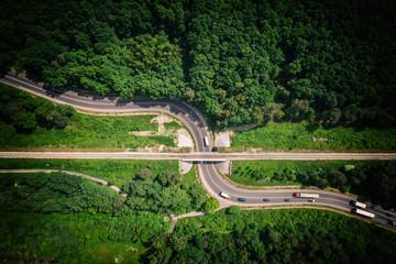 Aerial view of railroad tracks