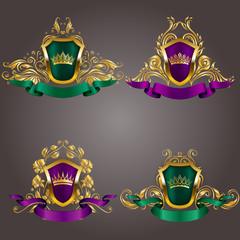 Set of gold vip monograms for graphic design on gray background. Elegant graceful frame, ribbon, filigree border, crown in vintage style for wedding invitations, card, logo, icon. Vector illustration.