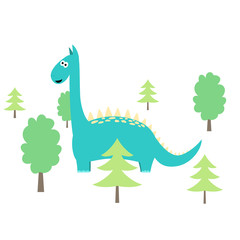 Cute cartoon dinosaur with trees