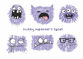 Set of six vector funny crazy monsters heads with different emotions on their faces. Sketch illustration drawn with colored crayons