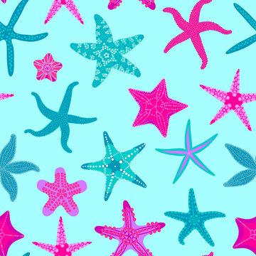Sea stars seamless pattern. Marine and nautical backgrounds with starfishes. Starfish underwater invertebrate animal. Vector illustration