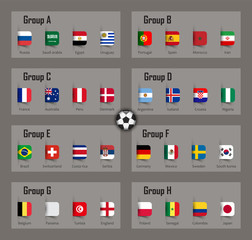 Soccer cup 2018 team group and national flags . Vector for international world championship tournament