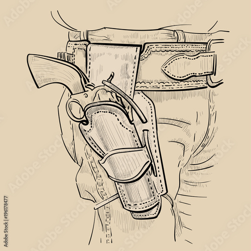 fb564ebd6c7 Cowboy fast draw holsters with Revolver Colt Model 1873 Single Action Army. Western  Gunfighters Rig and revolver. Digital Sketch Hand Drawing