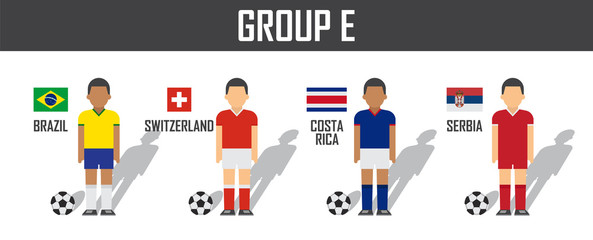 Soccer cup 2018 team group E . Football players with jersey uniform and national flags . Vector for international world championship tournament