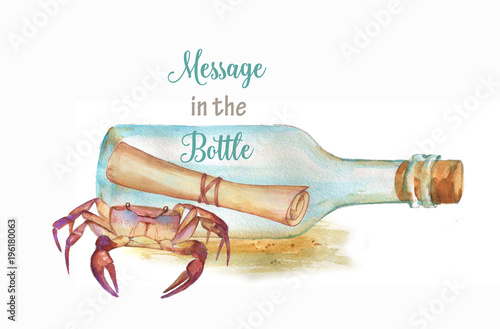 hand drawn watercolor illustration with sea crab and message in the