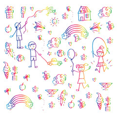 Children playing. Doodle style.