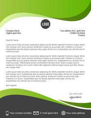 Green and black modern letterhead template