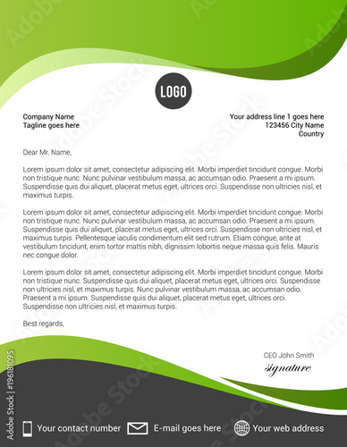 green and black modern letterhead template stock image and royalty