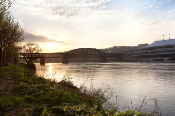 Bridge over the Allegheny River at sunset, Pittsburgh, Pennsylvania, USA