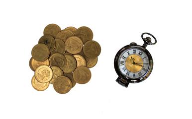 Alarm clock and money on white background.