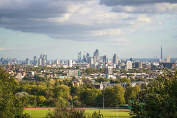 View towards London city skyline from Parliament Hill in Hampstead Heath