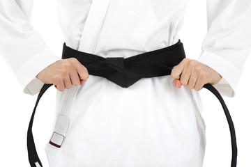Karate black belt, isolated on white background