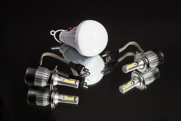 LED lamps for car headlights on a black background in studio