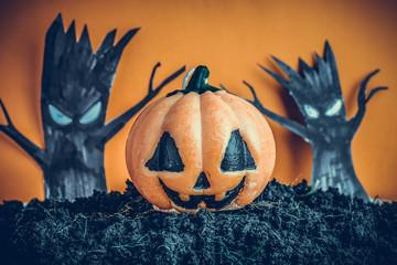 Halloween Pumpkins on soil