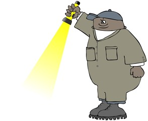 Illustration of a black man wearing coveralls holding a flashlight pointed to the ground.