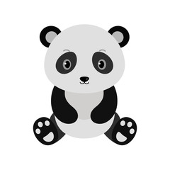 Adorable panda in flat style.