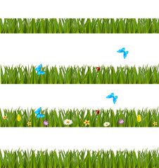 Green realistic grass borders set with flowers and butterflies