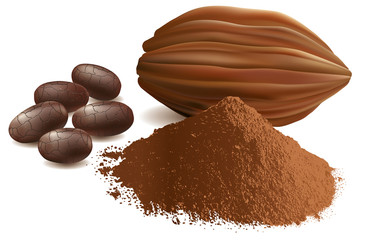 cacao beans, with powder