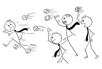 Cartoon stick man drawing conceptual illustration of businessman running away from group of angry business people or coworkers throwing crumpled paper balls.