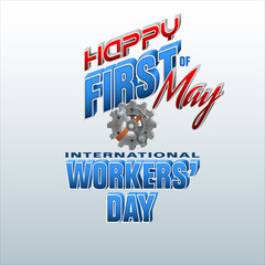 Holidays, design background with 3d texts, hammer and wrench on gear for celebration of First May International Workers' day; Vector illustration
