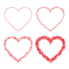 Set of Red Hand Drawn Linear Grunge Hearts. Vector illustration.