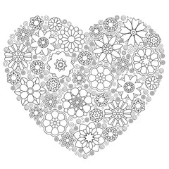 Heart template with abstract lace floral pattern in paper laser cut out style. Coloring Page for adult colouring book. Freehand sketch drawing with doodle and zentangle elements.