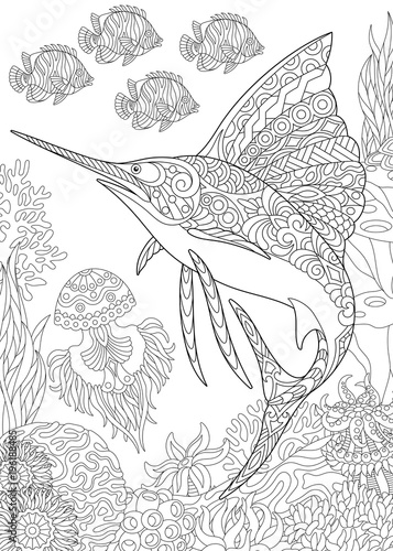 Coloring Page For Adult Colouring Book Underwater Background With Sailfish Jellyfish Tropical Fishes