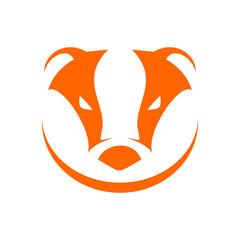 Badger Head Orange Simple Symbol Logo Design