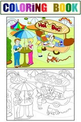 Amusement park color pages for children. Hot dog. Food Truck vector. Color, black and white