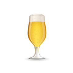 Realistic glass of beer. Detailed realistic vector illustration