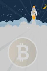 Rocket and Bitcoin digital money Business concept