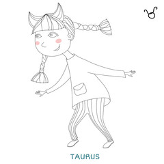 cute girl in the form of zodiac sign. taurus