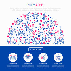 Body aches concept in half circle with thin line icons: migraine, toothache, pain in eyes, ear, nose, when urinating, chest pain, menstrual, joint, arthritis. Vector illustration for web page template
