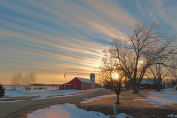 Sundown on the farm.